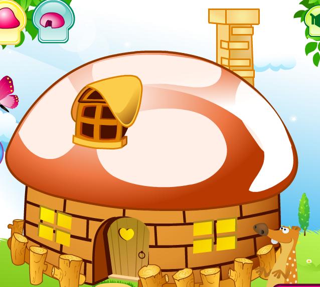 Укрась домик-гриб. Флэш-игра