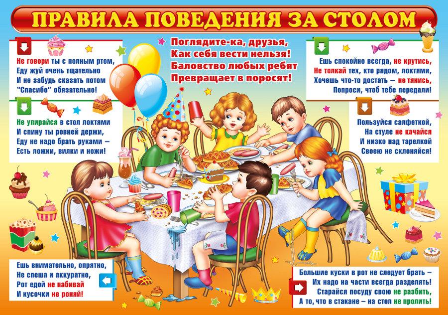 Правила поведения детей за столом